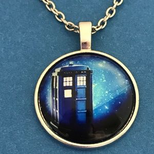 Jewelry - Tardis in Space Dr. Who Silver Tone Necklace